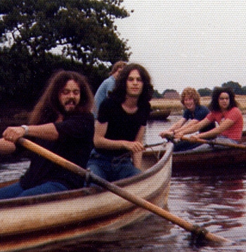 Paul Jeffreys and friends boating on the lake at Whipps Cross